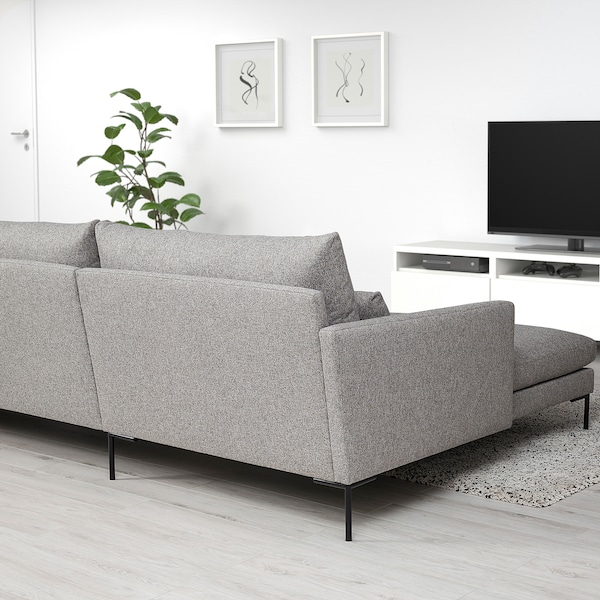 BARKTORP 4-seters sofa, med sjeselong grå/rundt svart