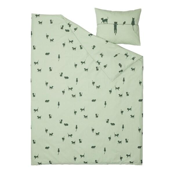 BARNDRÖM Dynetrekk og putevar, kattemønster/grønn, 150x200/50x60 cm