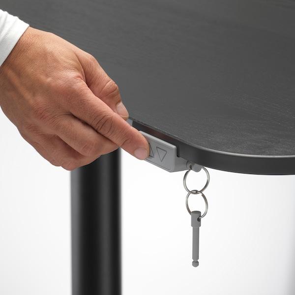 BEKANT Arbeidsbord sitte/stå, svartbeiset askefiner/svart, 120x80 cm