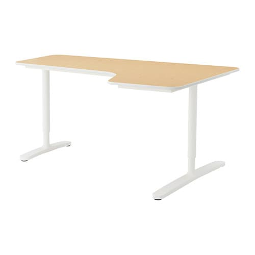 bekant hj rnearbeidsbord h yre bj rkefiner hvit ikea. Black Bedroom Furniture Sets. Home Design Ideas