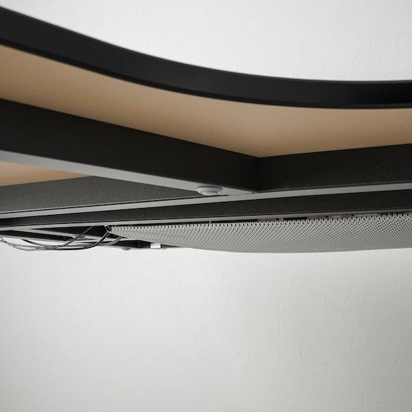 BEKANT Hjørnearbeidsbord venstre, svartbeiset askefiner/svart, 160x110 cm