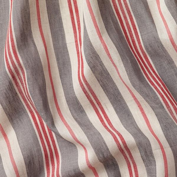 BERGSKRABBA Gardiner, 1 par, grå/rød stripet, 145x250 cm
