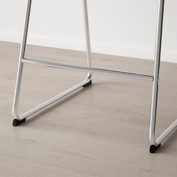 BERNHARD Barstol, forkrommet/Mjuk mørk brun, 66 cm