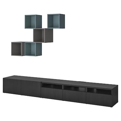 BESTÅ / EKET Skapkombinasjon for TV, brunsvart/mørk grå gråturkis, 300x42x210 cm