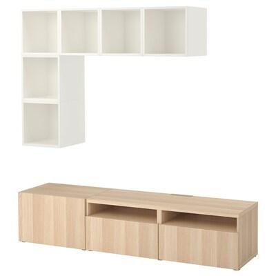 BESTÅ / EKET Skapkombinasjon for TV, hvit/hvitbeiset eikemønster, 180x40x170 cm