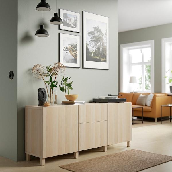 BESTÅ Kommode, hvitbeiset eikemønster/Lappviken/Stubbarp hvitbeiset eikemønster, 180x42x74 cm