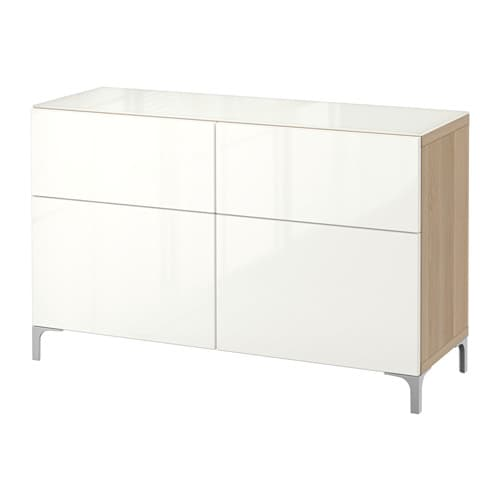 best kommode hvitbeiset eikem nster selsviken h yglanset hvit skuffeskinne lukkes mykt ikea. Black Bedroom Furniture Sets. Home Design Ideas