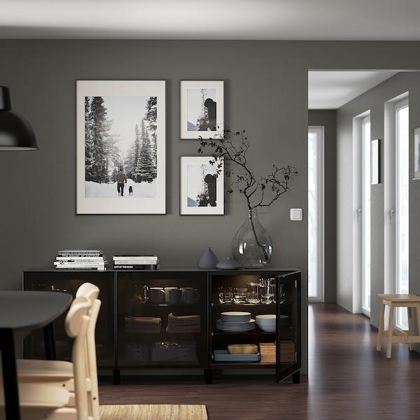 BESTÅ Oppbevaring med dører, brunsvart/Glassvik/Stubbarp svart/røykfarget glass, 180x42x74 cm