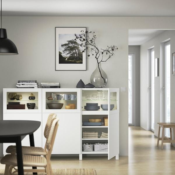 BESTÅ Oppbevaring med dører, hvit Lappviken/Sindvik hvit klart glass, 180x42x112 cm