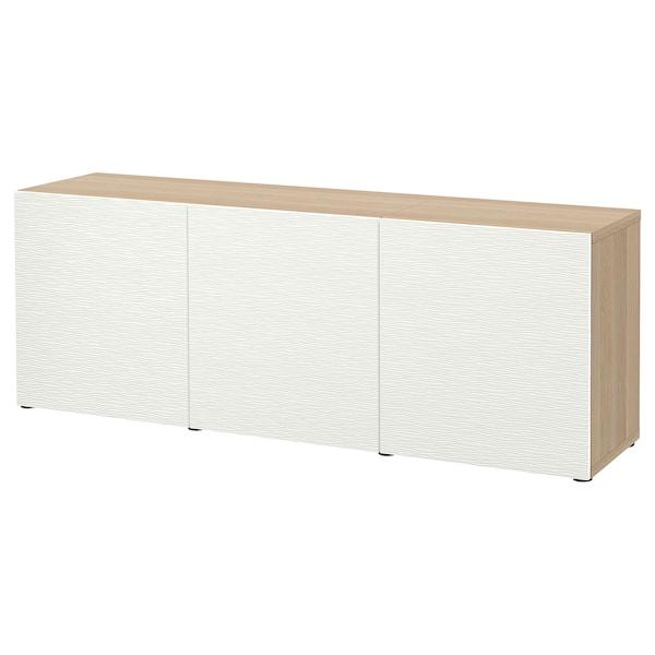BESTÅ Oppbevaring med dører, hvitbeiset eikemønster/Laxviken hvit, 180x42x65 cm