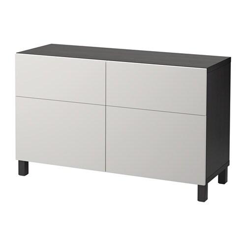 ... brunsvart/Lappviken lys gr?, skuffeskinne, trykk-?pen-beslag - IKEA