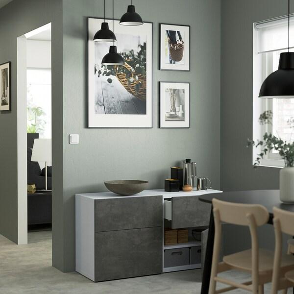 BESTÅ Oppbevaringskomb m dør/skuffer, hvit Kallviken/mørk grå betongmønstret, 120x42x65 cm