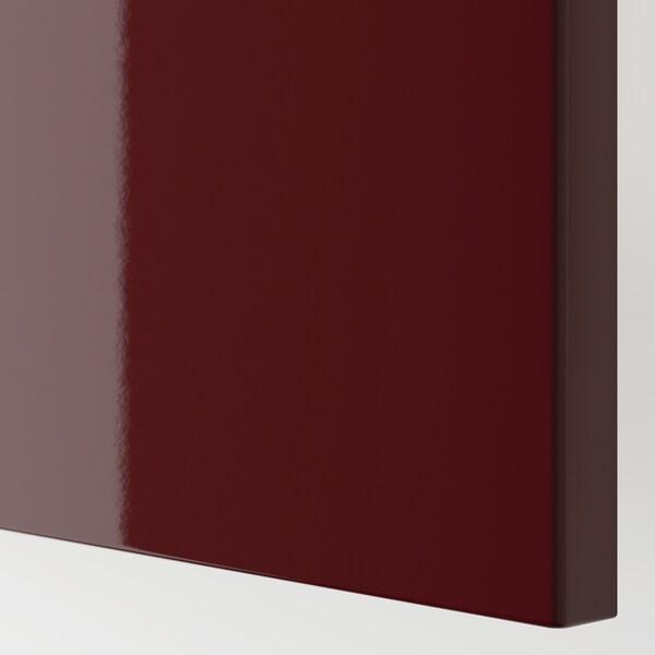 BESTÅ Oppbevaringskomb m dør/skuffer, hvit Selsviken/høyglans mørk rød-brun, 120x42x65 cm