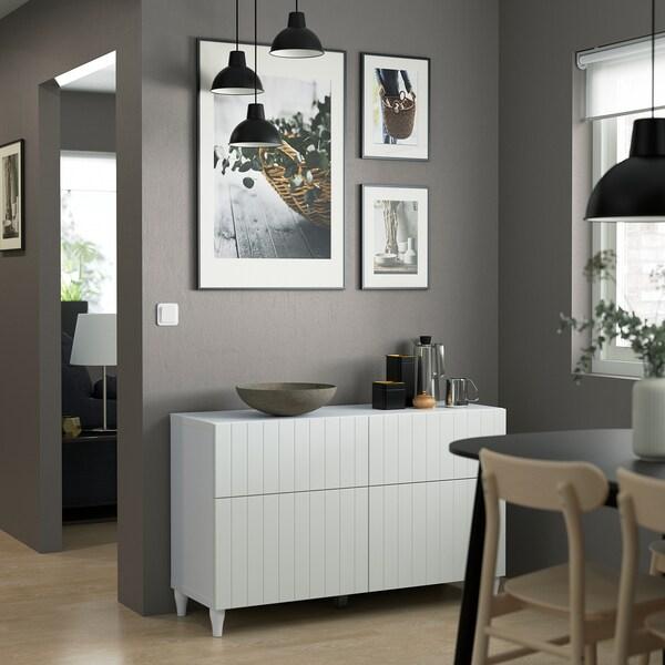 BESTÅ Oppbevaringskomb m dør/skuffer, hvit/Sutterviken/Kabbarp hvit, 120x42x74 cm