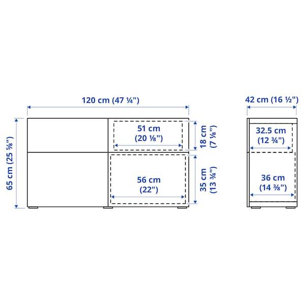 BESTÅ Oppbevaringskomb m dør/skuffer, hvitbeiset eikemønster/Lappviken lys grå, 120x42x65 cm
