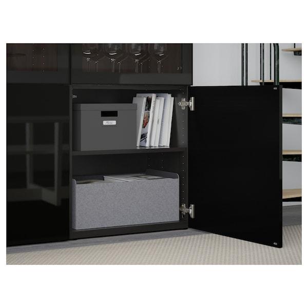BESTÅ Oppbevaringskombi m vitrinedører, brunsvart/Selsviken høyglanset/svart klart glass, 120x42x193 cm