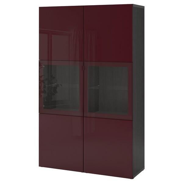 BESTÅ Oppbevaringskombi m vitrinedører, brunsvart Selsviken/mørk rød-brun klart glass, 120x42x192 cm