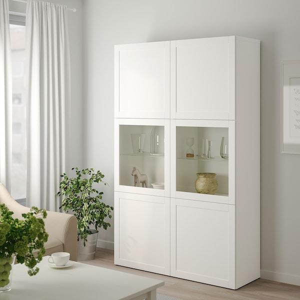 BESTÅ Oppbevaringskombi m vitrinedører, hvit Hanviken/Sindvik hvit klart glass, 120x42x193 cm