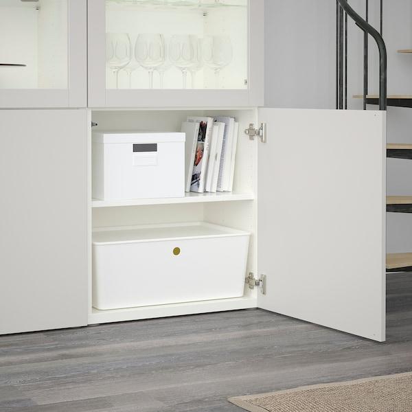 BESTÅ Oppbevaringskombi m vitrinedører, hvit/Lappviken lys grå klart glass, 120x40x192 cm