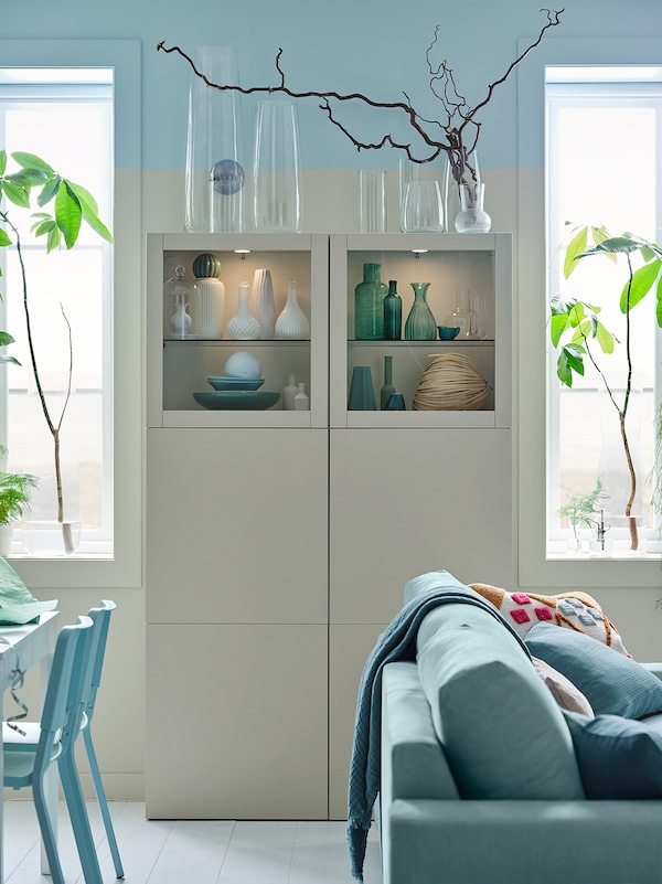 BESTÅ Oppbevaringskombi m vitrinedører, hvit Lappviken/lys gråbeige klart glass, 120x42x193 cm