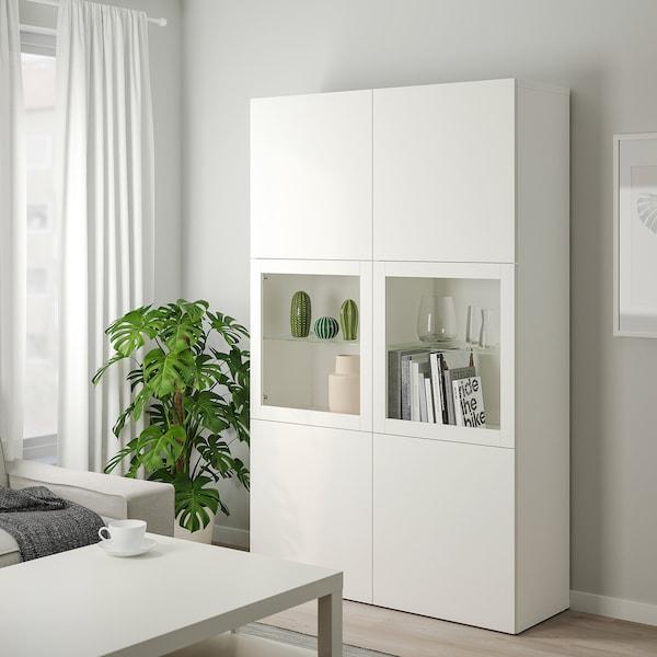 BESTÅ Oppbevaringskombi m vitrinedører, hvit Lappviken/Sindvik hvit klart glass, 120x42x193 cm