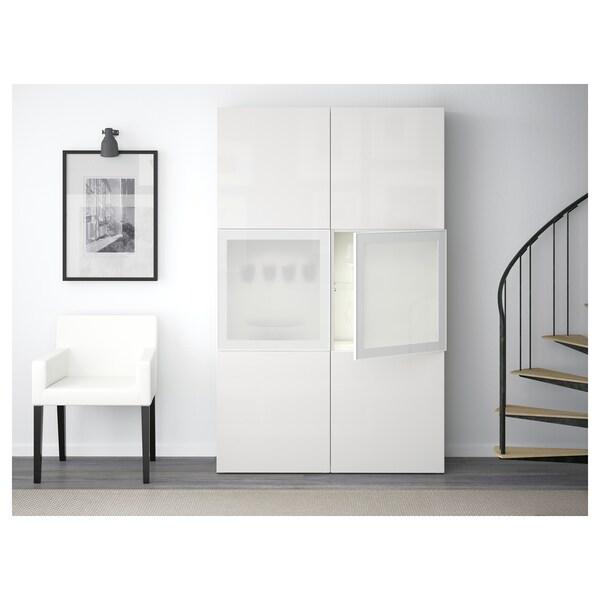 BESTÅ Oppbevaringskombi m vitrinedører, hvit/Selsviken høyglanset/hvit frostet glass, 120x42x193 cm
