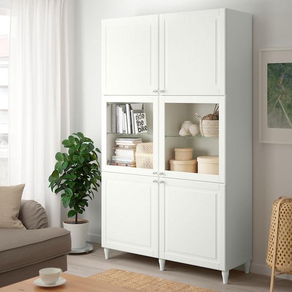 BESTÅ Oppbevaringskombi m vitrinedører, hvit Smeviken/Ostvik hvit klart glass, 120x42x202 cm