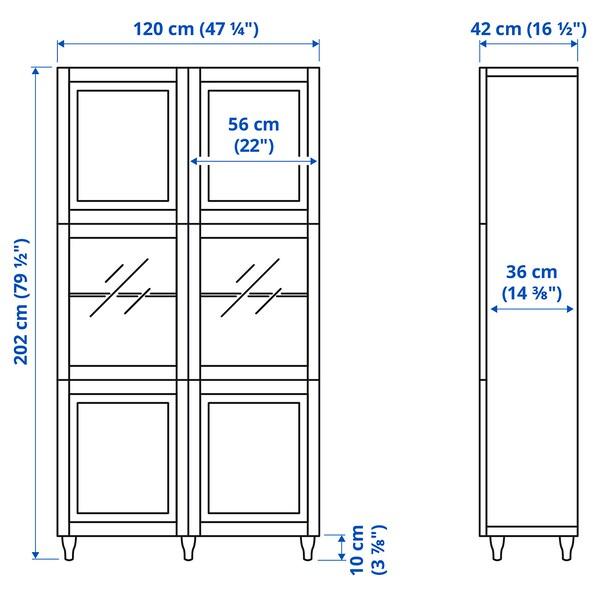 BESTÅ Oppbevaringskombi m vitrinedører, hvit Sutterviken/Sindvik hvit klart glass, 120x42x202 cm