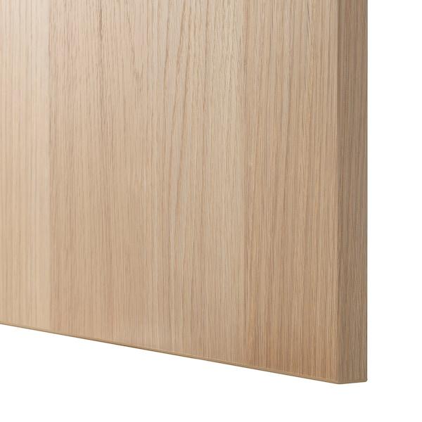 BESTÅ Oppbevaringskombi m vitrinedører, hvitbeiset eikemønster/Lappviken hvitbeiset eik-mønstret klart glass, 60x42x193 cm