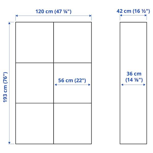 BESTÅ Oppbevaringskombi m vitrinedører, hvitbeiset eikemønster/Selsviken høyglanset/hvit klart glass, 120x42x193 cm