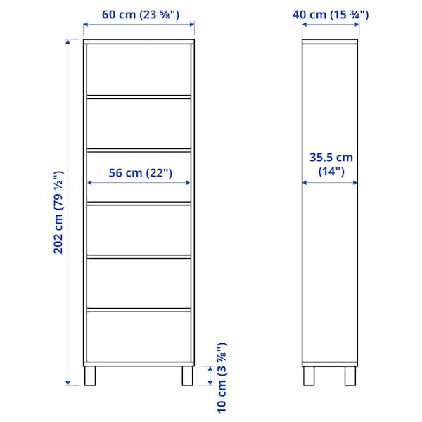 BESTÅ Skap, hvitbeiset eikemønster, 60x40x202 cm