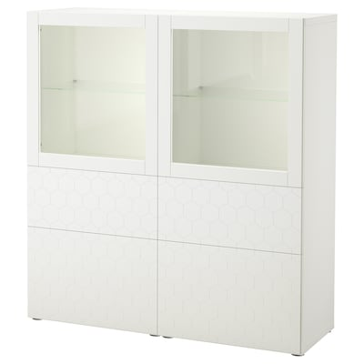 BESTÅ oppbevaringskombi m vitrinedører hvit/Vassviken hvit klart glass 120 cm 40 cm 128 cm