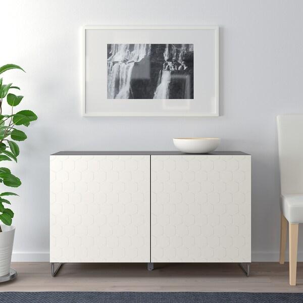 BESTÅ oppbevaring med dører brunsvart/Vassviken/Sularp hvit 120 cm 40 cm 74 cm