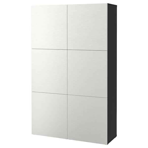 BESTÅ oppbevaring med dører brunsvart/Laxviken hvit 120 cm 40 cm 192 cm