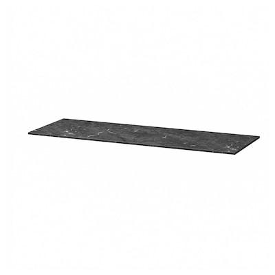BESTÅ Topplate, marmormønstret/svart, 120x42 cm