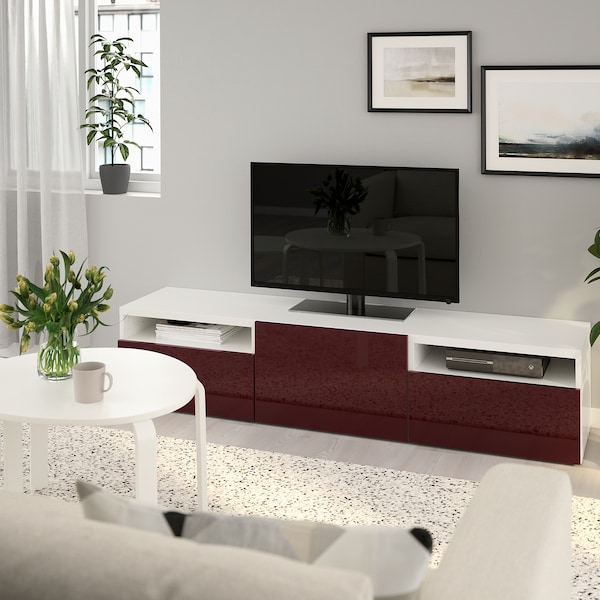 BESTÅ TV benk med skuffer hvit Selsvikenhøyglans mørk rød