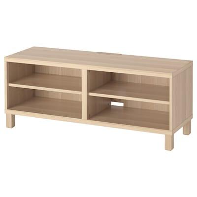 BESTÅ TV-benk, hvitbeiset eikemønster, 120x40x48 cm