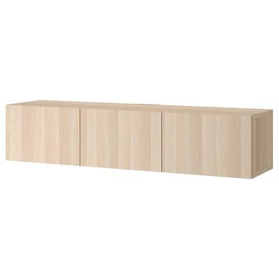 BESTÅ TV-benk m dører, hvitbeiset eikemønster/Lappviken hvitbeiset eikemønster, 180x42x38 cm