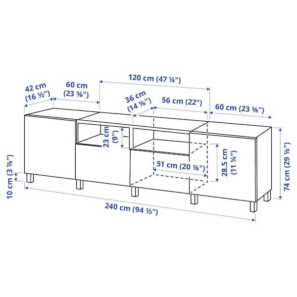 BESTÅ TV-benk med dører og skuffer, hvit/Kallviken/Stubbarp mørk grå, 240x42x74 cm