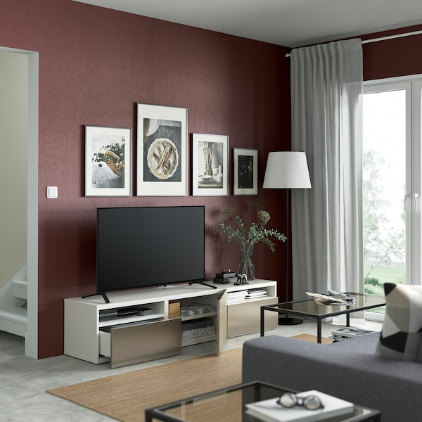 BESTÅ TV-benk med skuffer og dør, hvit/Riksviken lys bronseeffekt, 180x42x39 cm