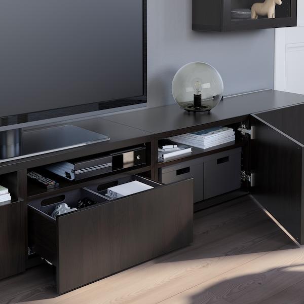 BESTÅ TV-løsning/vitrinedører, brunsvart/Lappviken brunsvart klart glass, 240x42x190 cm