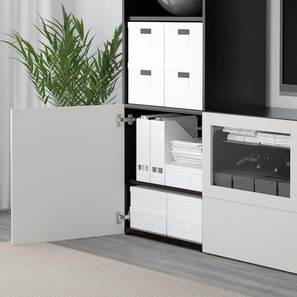 BESTÅ TV-løsning/vitrinedører, brunsvart Lappviken/lys grå klart glass, 240x40x230 cm