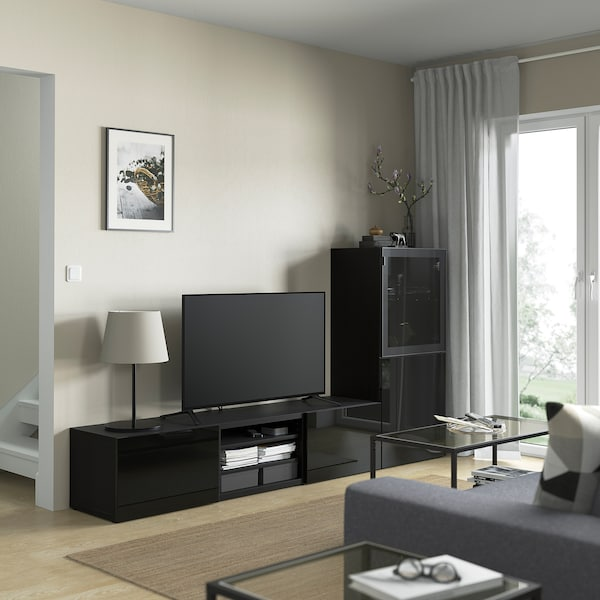 BESTÅ TV-løsning/vitrinedører, brunsvart/Selsviken høyglanset/svart røykfarget glass, 240x42x129 cm
