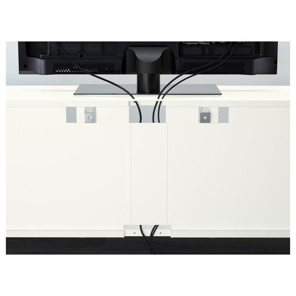 BESTÅ TV-løsning/vitrinedører Lappviken/Sindvik hvit klart glass 300 cm 40 cm 230 cm