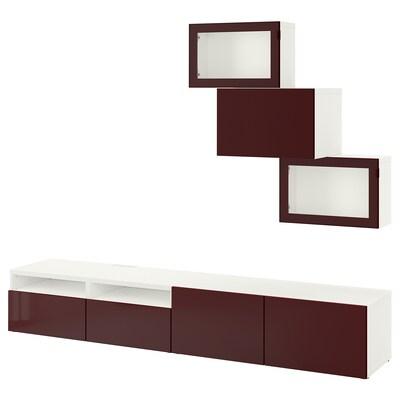 BESTÅ TV-løsning/vitrinedører hvit Selsviken/mørk rød-brun klart glass 240 cm 42 cm 190 cm