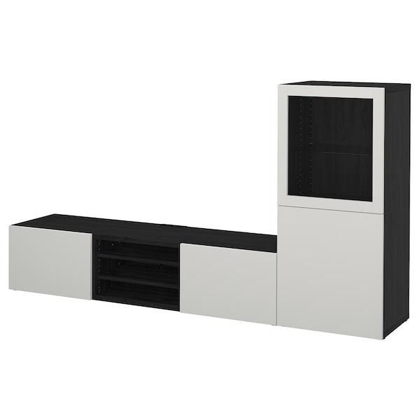 BESTÅ TV-løsning/vitrinedører brunsvart/Lappviken lys grå klart glass 240 cm 42 cm 129 cm