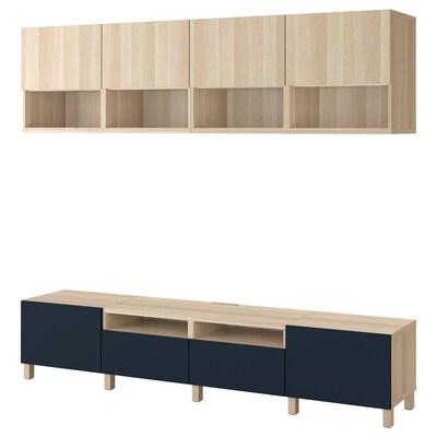 BESTÅ tv-møbel, kombinasjon hvitbeiset eikemønster Lappviken/Notviken/Stubbarp blå 240 cm 42 cm 230 cm