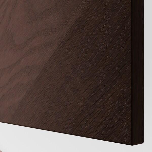 BESTÅ Veggmontert skapkombinasjon, brunsvart Hedeviken/mørk brun beiset eikefiner, 60x22x38 cm