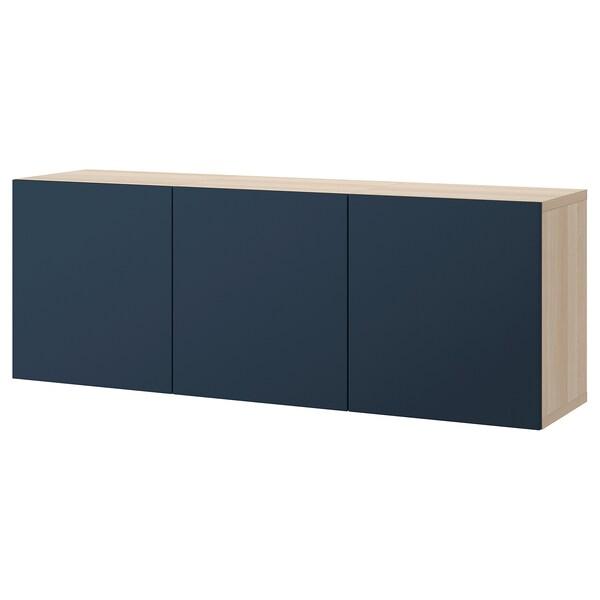 BESTÅ Veggmontert skapkombinasjon, hvitbeiset eikemønster/Notviken blå, 180x42x64 cm