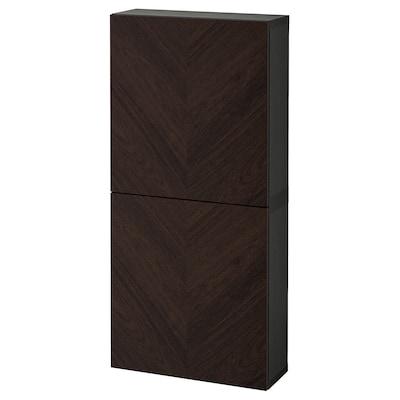 BESTÅ Veggskap med 2 dører, brunsvart Hedeviken/mørk brun beiset eikefiner, 60x22x128 cm